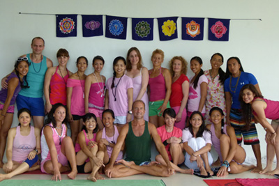 clayton horton with people who attended the 2011 yoga teacher training at philippines